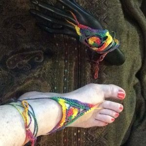 Hippie BOHO hand Colorful Crochet Foot Sandals Top